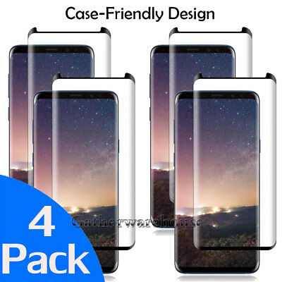 LOT of 4 Tempered Glass Screen Protector For Samsung Galaxy S8 /S9 PLUS/Note 9 8