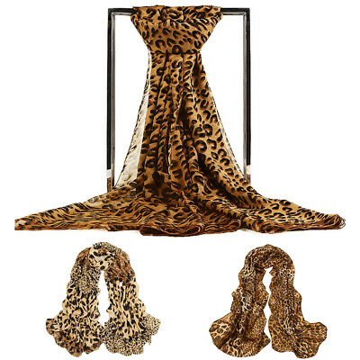 Leopard Print Women Girls Chiffon Scarf Soft Wrap Long Shawl Lightweight Scarves