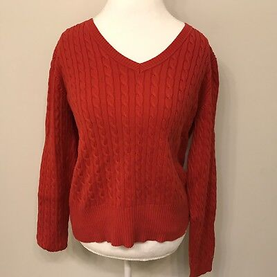 0e5444b9ef TOMMY HILFIGER RED Cable Knit V-neck Sweater Women s M Cotton ...