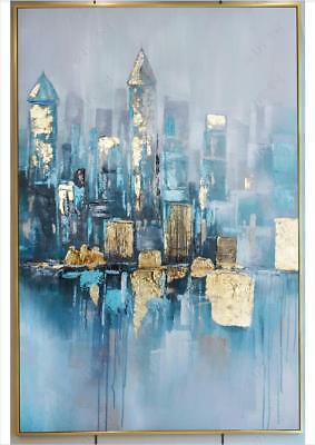 VV858 Modern Home decor Hand-painted oil painting on canvas Abstract Golden city