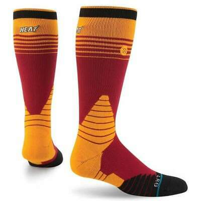 Stance NBA On Court Logo Crew Heat Basketball Socks in Red | NEW Stance Mens Cre