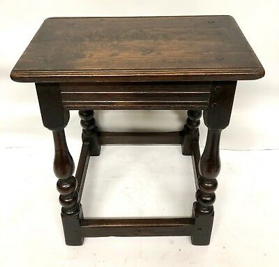 Antique Georgian Carved Oak Joint Stool Occasional Table Lamp Stand
