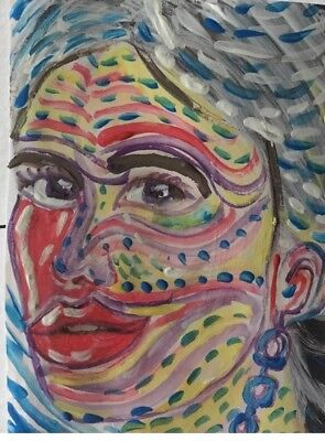 aceo original painting fantasy Portrait WoMan Indigenous Bipolar  Abstract Arte