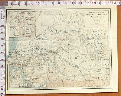 Map/Battle Plan Operations Between Bayonne & Toulouse Tarbes Hill Rifles 1814