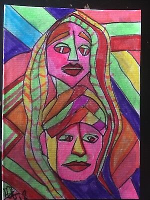 aceo original painting fantasy African Coppia Sposi . Man & Woman Abstract Arte