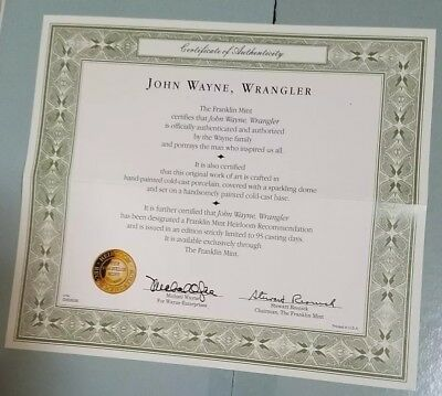 "John Wayne, ""wrangler"" Sculptur: - Cecertificate Of Authenticity Only-"