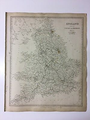 Vintage Original 1845 Topographic Map Of 'England & Wales-Canals & Railways'