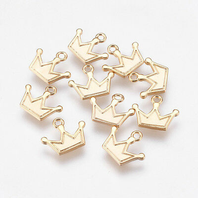 10 x Real Gold Plated Brass Crown Charm Pendant Finding Bead Jewellery Making