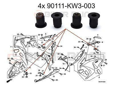 4x Honda CBR1000RR 2008-2009 front fairing rubber well nuts 90111-KW3-003