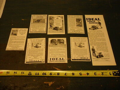 7 Antique IDEAL POWER LAWN MOWER Ads 1924 1926 1927 1928 Hit Miss Engines