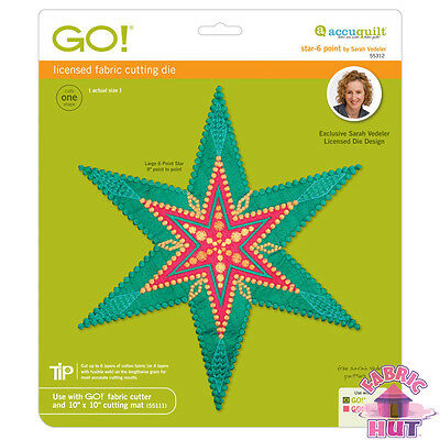 Accuquilt GO! Fabric Cutter Die Star 6 Six Point by Sarah Vedeler Quilt 55312