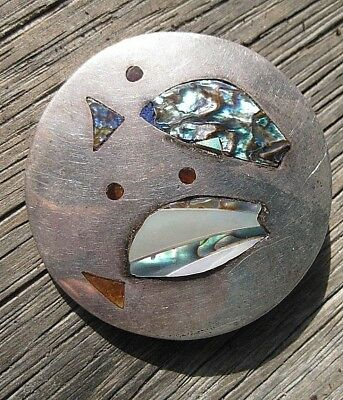 Vintage Sterling Silver Taxco, Mexico Mid Century Abalone Inlay FISH Pin PENDANT