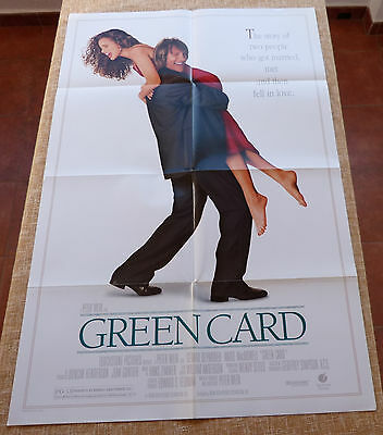 Green Card Movie Poster, Original, Folded, One Sheet, DS, year 1990, Made in USA