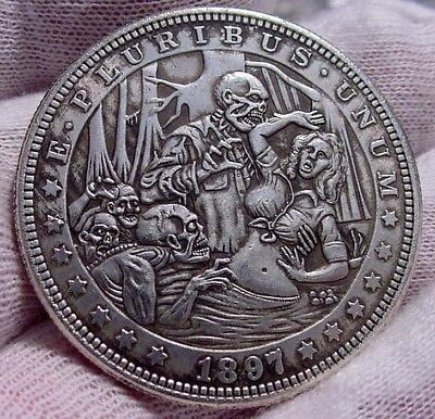 "RARE Series ""15"" Coin-Clad Plated Toned- Dollar Size-Really Weird-Skull-Vintage"