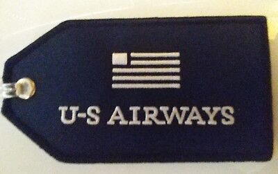 US Air US Airways American Airlines Classic Blue Flag Luggage ID tag embroidered