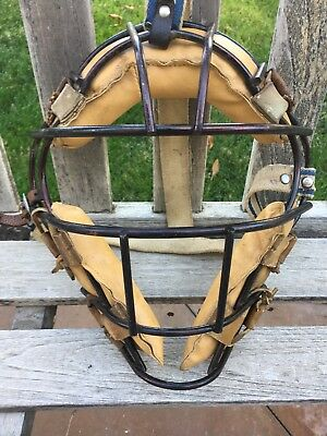 Old Square SPITTER Antique 1940's Leather Baseball VINTAGE Catchers Mask Early