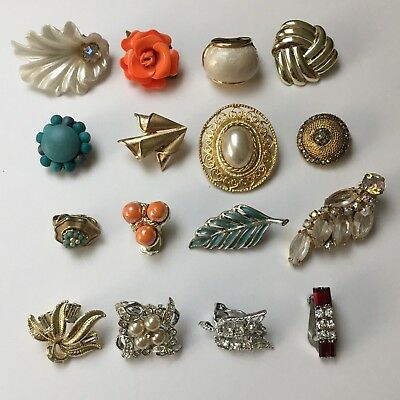 Vintage Clip-On Earrings Lot For Crafts Repurpose Jewelry Making Trifari Caro