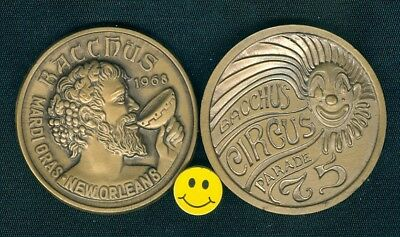 1975 Bacchus High Relief  Antique Bronze CLOWN Mardi Gras Doubloon New Orleans