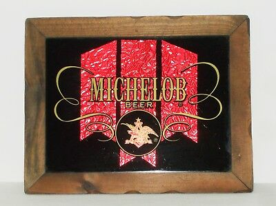 Michelob Beer Glass Mirror Sign Display Wood Frame Red On Black Gold  Letters