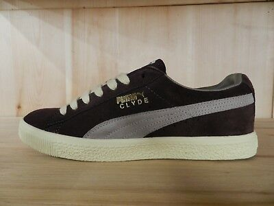 MEN S PUMA CLYDE Gray Black Leather Athletic Sneakers SZ 8 352773 08 ... cc85a5eaa