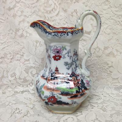 Antique, English, Mason's Gaudy Blue Willow 10in Pitcher (No Wash Bowl)