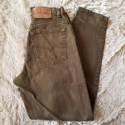 VTG Levi's Mom Jeans 27x30 551 High Waisted Brown Denim Relaxed Fit Tapered