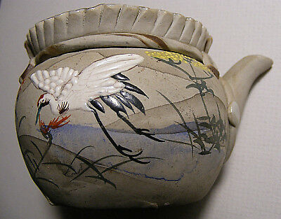 Antique Japanese Banko Ware Teapot, Hand Painted Moriage Cranes