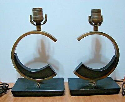 Pair of Vintage Mid Century Modern Brass & Wood Table Lamps Very Rare