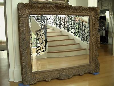 "Superb Huge 51""x44"" Antique Vtg Carved Gilt Wood Painting Mirror Picture Frame"