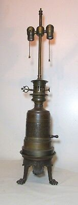 antique 1800's F. Barbedienne ornate bronze converted oil electric table lamp