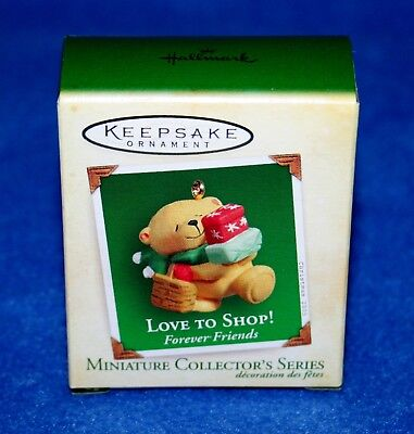 "Hallmark 2005 ""love To Shop!"" #2 In Series Bear Miniature Ornament (Nib)"