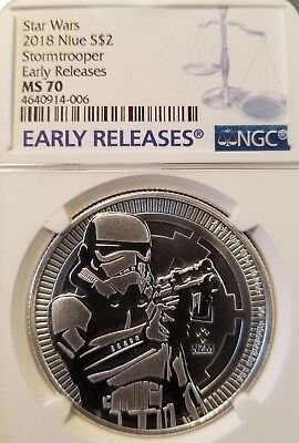 2018 Niue S$1 Star Wars Stormtrooper Ngc Ms 70 Early Releases Perfection !
