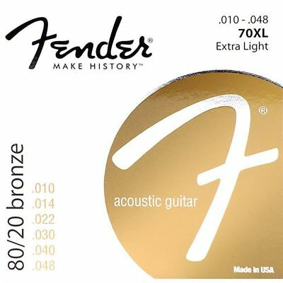 Fender 70XL 80/20 Bronze Extra Light Acoustic Guitar Strings (10-48)  #HDS
