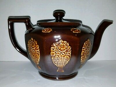 Vintage Dark Brown TEAPOT Embossed with Flowers Porcelain Made in Japan