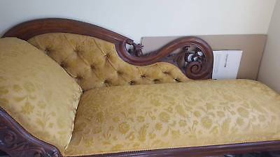 Antique Chaise Lounge. Swan rolled arm design