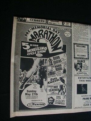 vintage 1973 newpaper movie ad 5 motorcycle movies rare ad clipping drive in