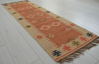 Kilim Hall Runner Indian Jute Wool Hand Knotted 180x60cm 6x2ft Geometric KRN04