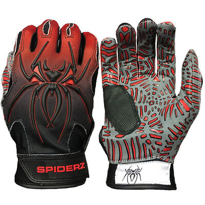 Spiderz Hybrid Tac Palm Baseball/Softball Batting Gloves - Red Fade - Large
