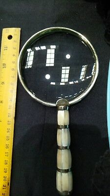 RETRO Vintage Antique Solid Brass Magnifying Glass magnifier Mother of pearl