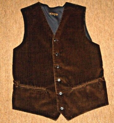 J. Riggings Mens Corduroy Vest Dark Brown & Black, Back Black Sweater Size M