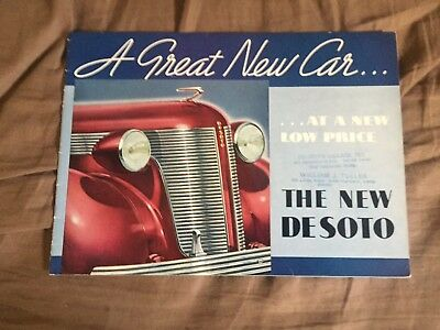 1937 DeSoto Large Prestige Original Color Brochure Catalog Prospekt