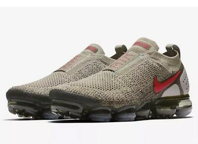 Nike Air VaporMax FK Moc 2 Neutral Olive Habanero Red AH7006-200 Men's Size 10.5