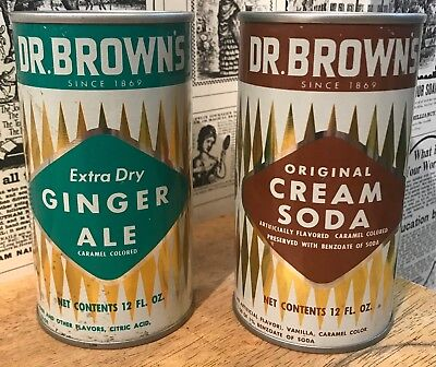 Vintage Lot of 2 Dr. Brown's Pull Tab Soda / Pop Cans - Ginger Ale / Cream Soda