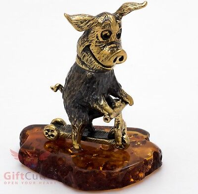 Solid Brass Amber Figurine of Pig riding a kick scooter 2019 New Year IronWork