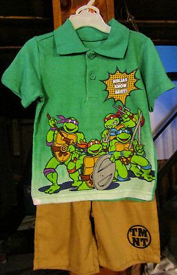 Nickelodeon Teenage Mutant Turtles Boys 2Pc Outfit Shorts/polo Top-2T,4T, 5T Nwt