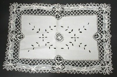 Vintage Style Hand Bobbin Lace Flower Embroidery Cutwork White Cotton Doily 40cm