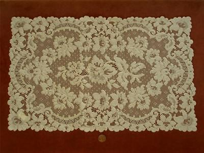 "HAND RUN 18"" Antique Vtg FRENCH ALENCON LACE DRESSER SCARF RUNNER DOILY PANEL"
