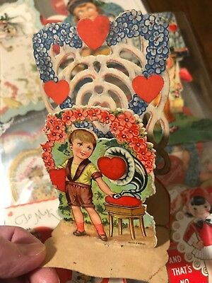 129 VTG VALENTINES DAY CARDS ANTIQUE Die Cut Move Stand 1920s-30s Used Lot NICE