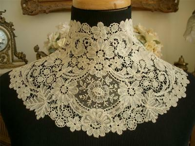 HM Antique VTG BELGIAN BRUSSELS DUCHESSE POINT DE GAZE LACE HIGH NECK COLLAR