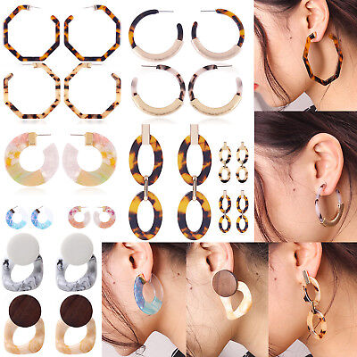 Women Trendy Acrylic Tortoise Shell Earring Round Circle Resin Hoop Earrings NEW